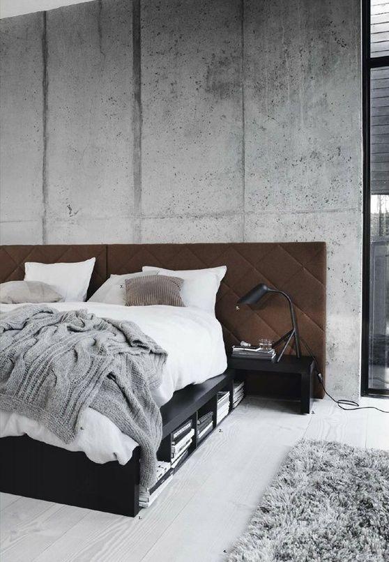 Interior Concrete Wall Bedroom