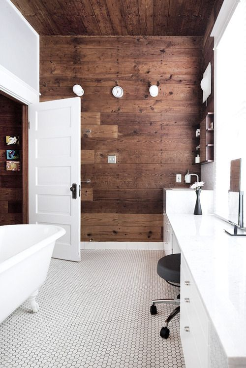 Black white wood bathroom design inspiration for Wood floor and ceiling