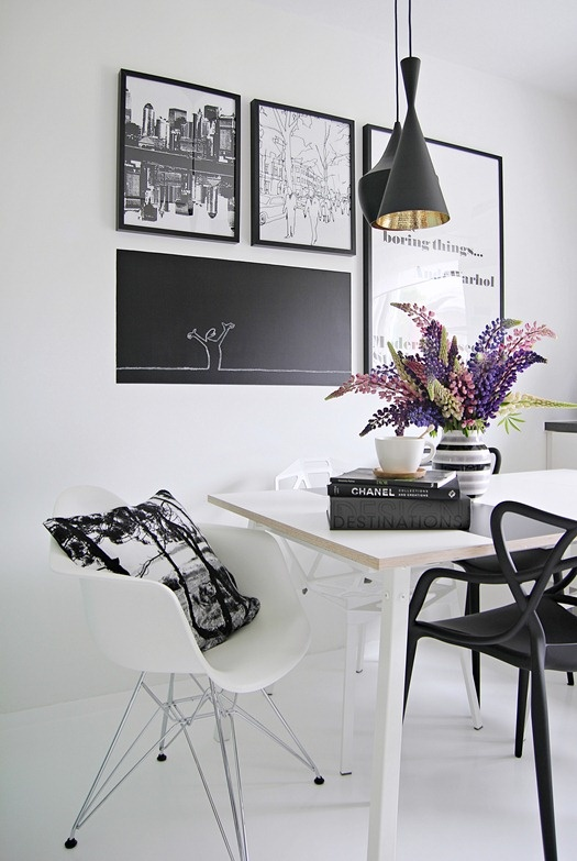 Black&White Dining Room Design Inspiration with Eames Chair