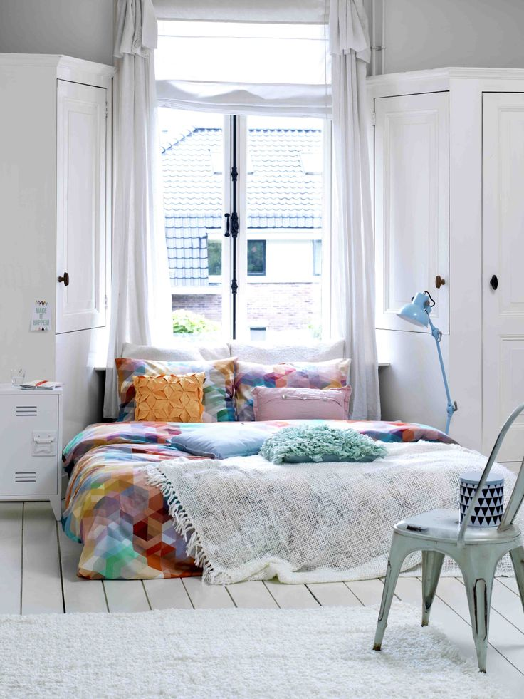 Bright Bedroom with Geometric Duvet