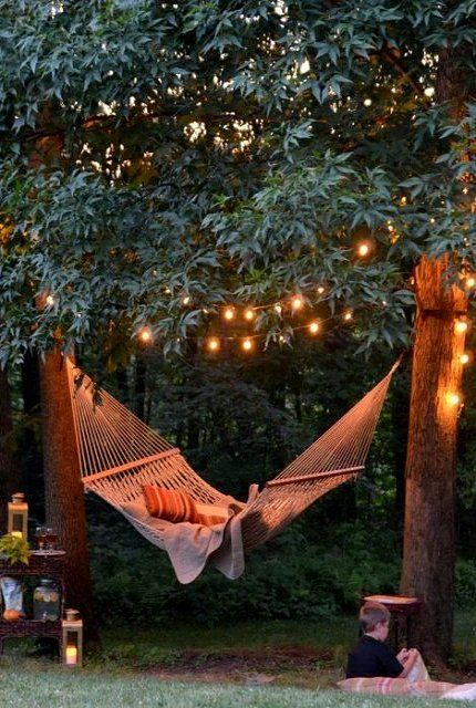 Charming Hammock with Soft Outdoor Lights