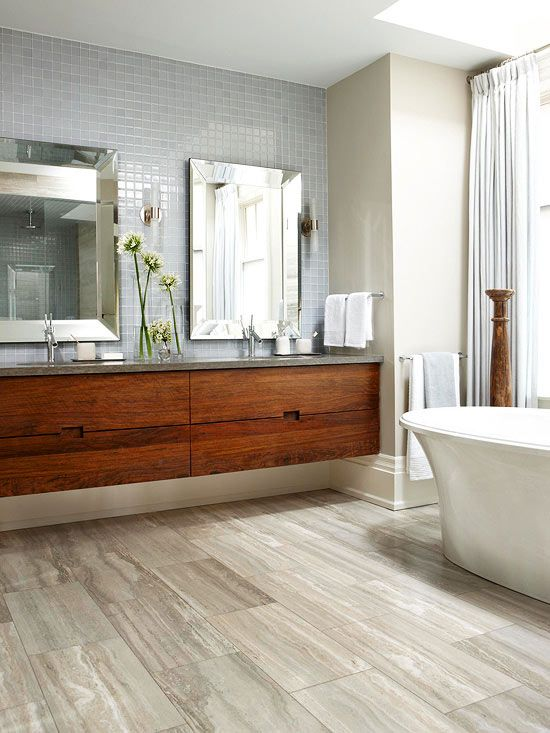Contemporary Bathroom Design With Wood Floors And Drawers