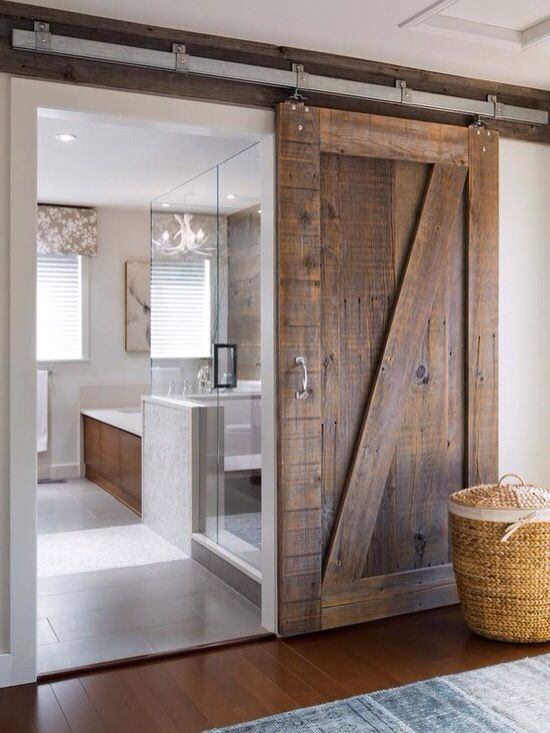 Contemporary Bathroom With Rustic Sliding Wood Door