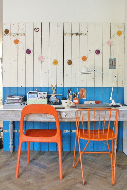 Coral & Blue Inspired Workspace Design