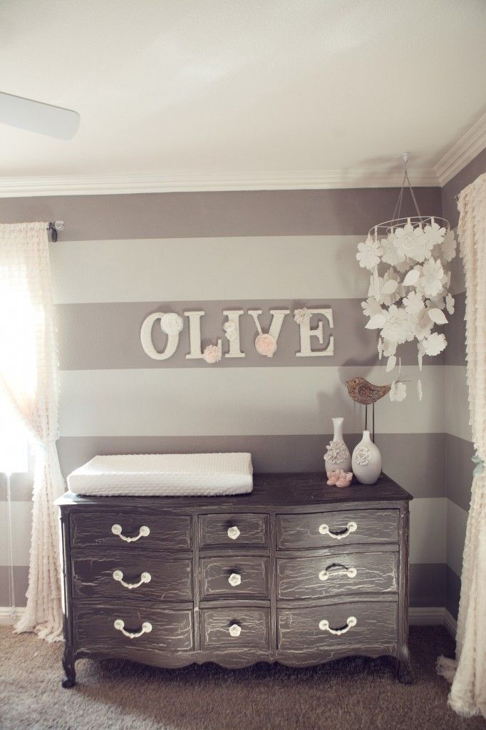 DIY Nursery Design with Baby Name on Wall