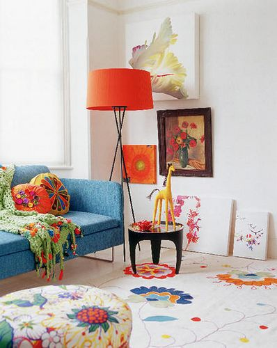 Flower Filled Colorful Family Living Room