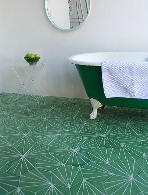 Green Hex Tile Bathroom Design