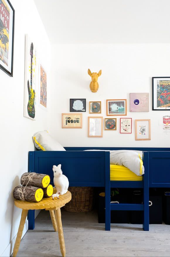Navy Blue & Yellow Kids Room Design