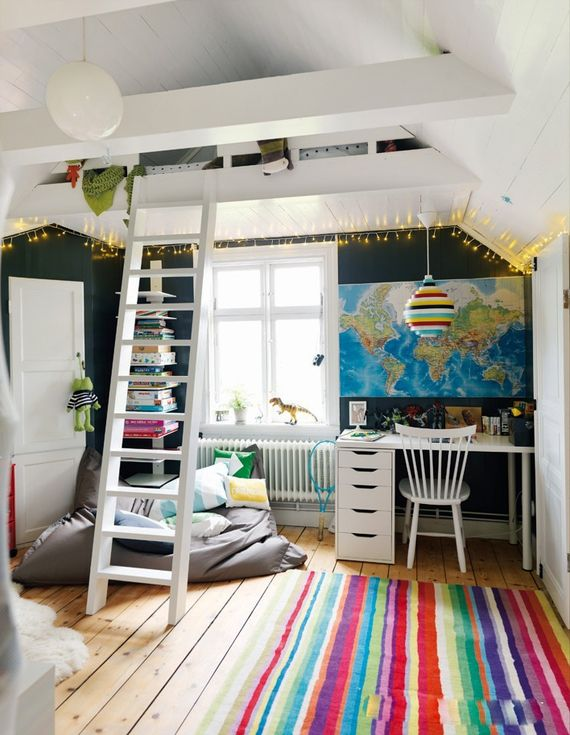 colorful kids room with upper hi - Home Design Inspiration