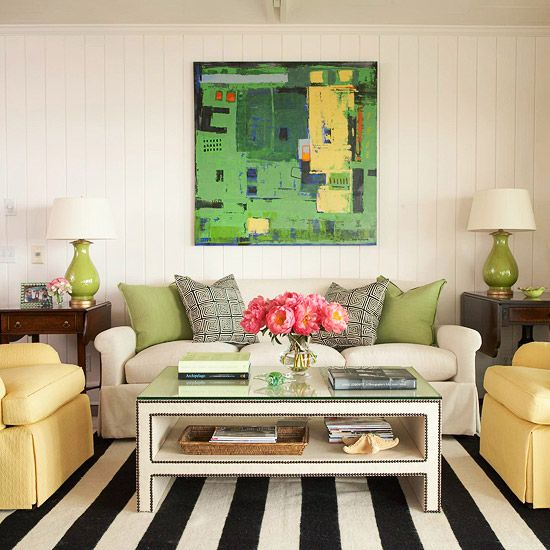 Living Room Design with Studded Piping Coffee Table