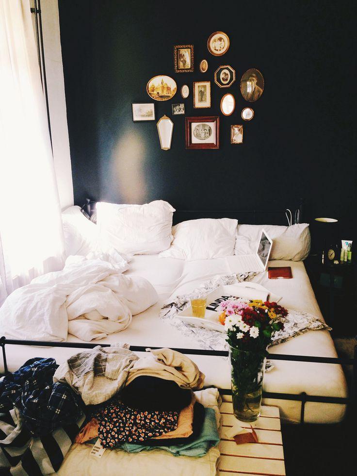 Messy Bedroom With Dark Walls Homedesignboard