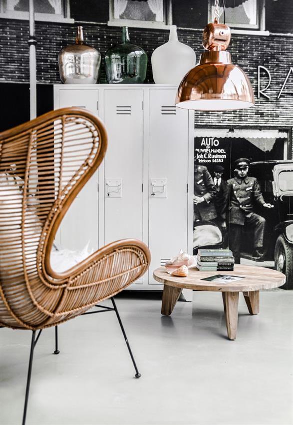 Modern Living Room with Repurposed Storage Lockers