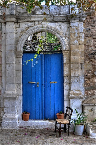 Exterior Door with a Bold Pop of Blue
