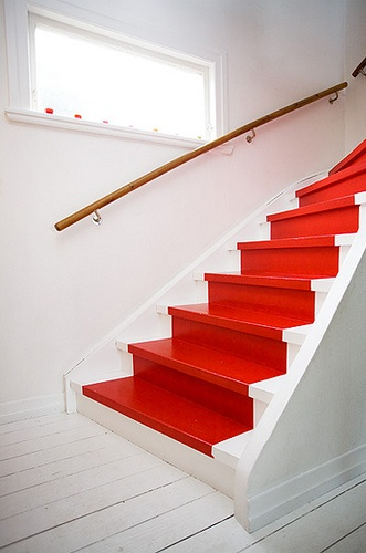 Pop of Red Staircase