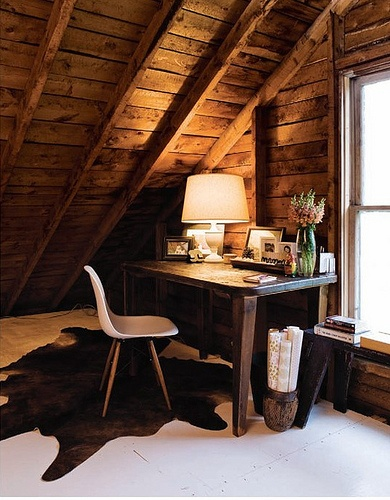 Rustic Attic Workspace Design