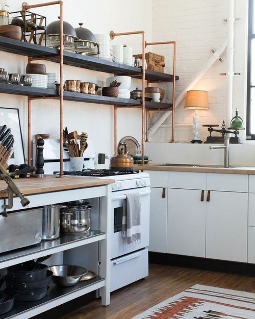 Cool Bedroom Backgrounds Bedroom Interior Design For Small Houses Bedroom Lighting Tumblr Simple Black And White Bedroom Ideas: Rustic Kitchen Design With Copper Pipe Shelving