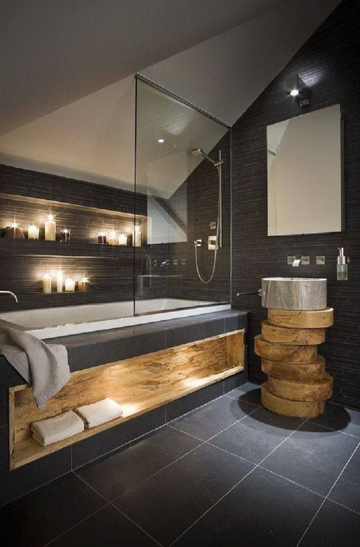 Wood and Tile Inspired Bathroom Design