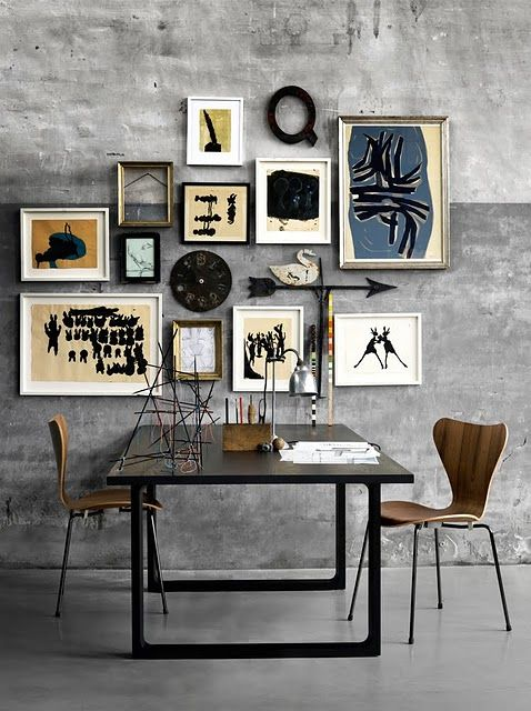 Concrete Workspace with Art Wall