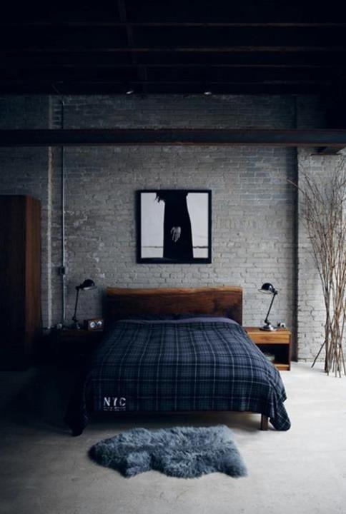 industrial inspired bedroom design