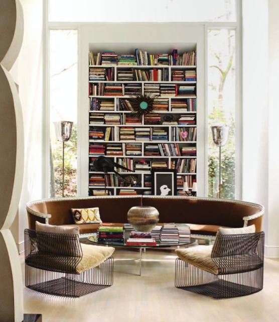 library design with semi-circle sofa