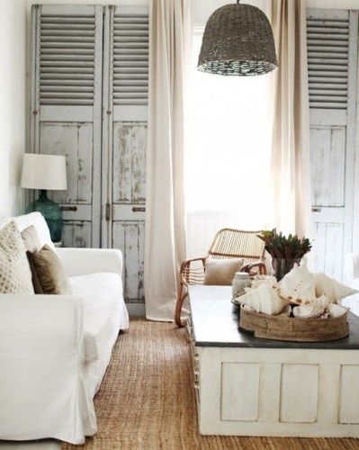 Beachy LIving Room with Shutter Wall Design