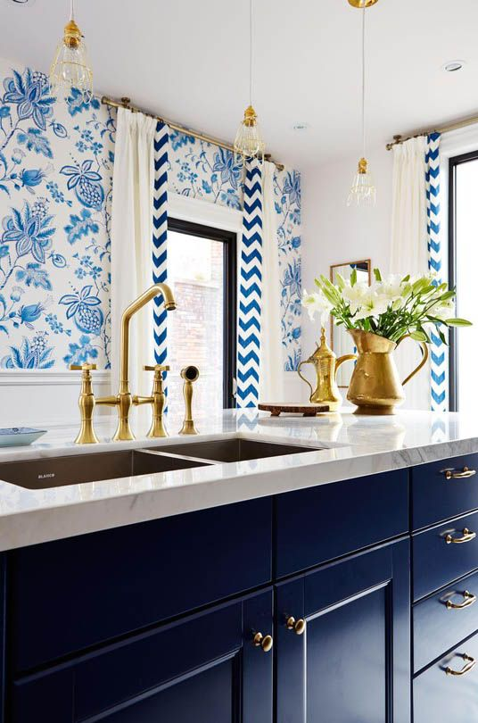 Blue White and Gold Kitchen