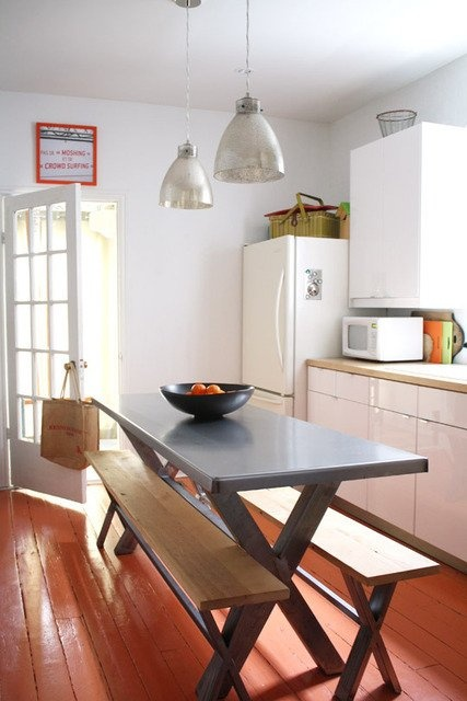 Clean Kitchen Design With Red Floors