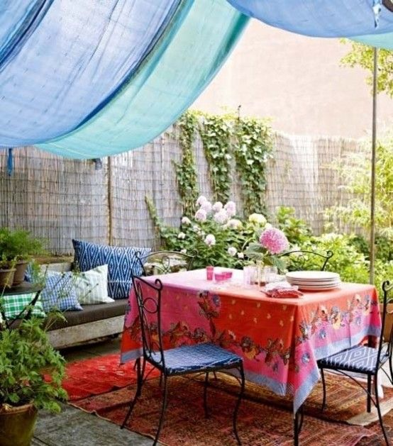 Colorful Outdoor Area with Canopy