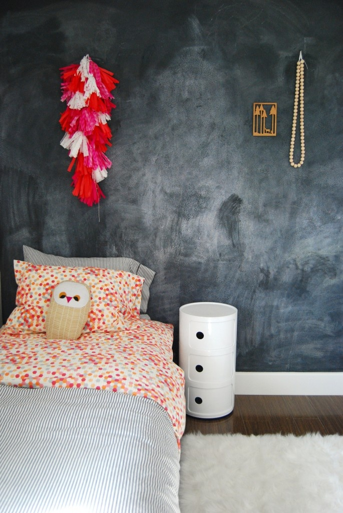 Contemporary Kids Room with Chalkboard Wall