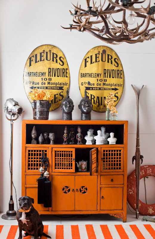 Eclectic Orange Entry Way