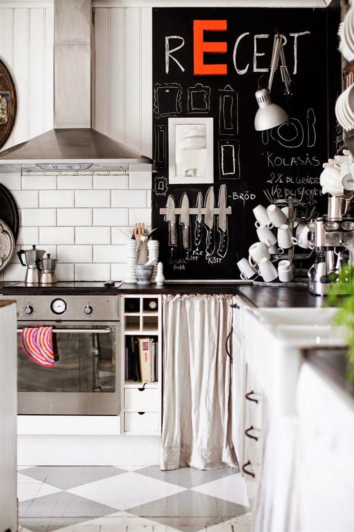 Edgy Kitchen With Chalkboard Wall Homedesignboard