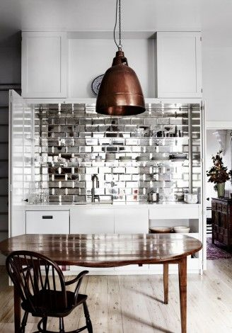 Flashy Silver Tile Backsplash