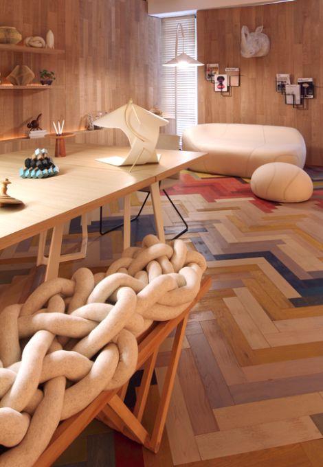 Geometric Living Room Showcases Parquet Flooring