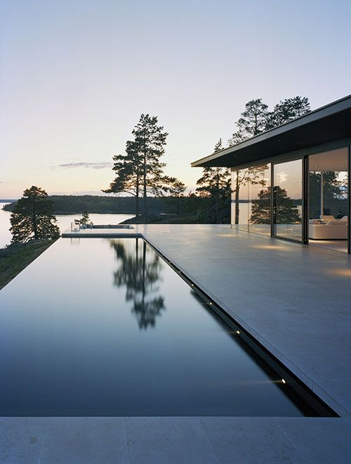 Glass-like Infinity Pool at Sunset