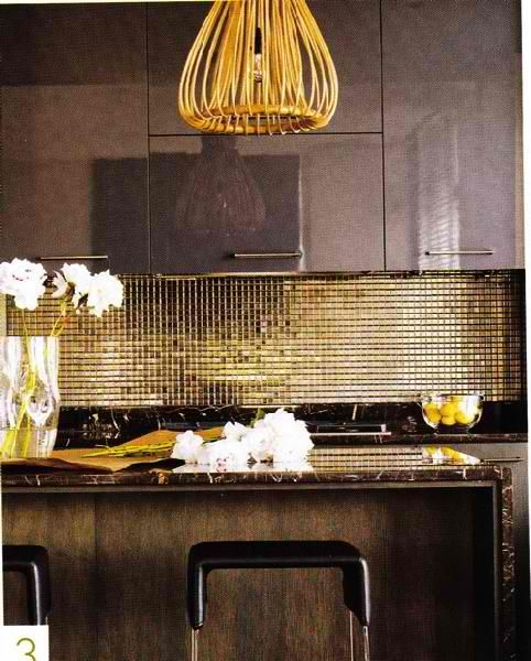 Gold Mosaic Backsplash