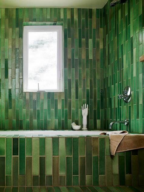 Green Linear Tiled Bathtub