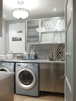 Laundry Room with Diner Style Backsplash