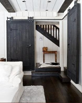 Black and White Living Room with Sliding Barn Doors