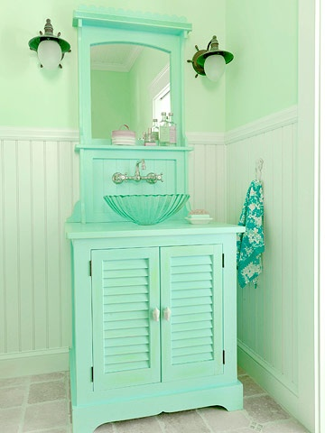 Mint Monocrome Powder Room