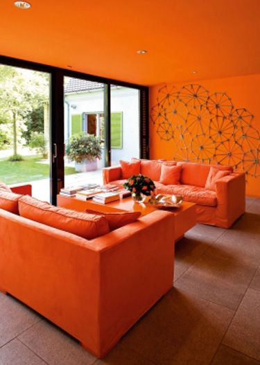 Orange Monochrome Living Room