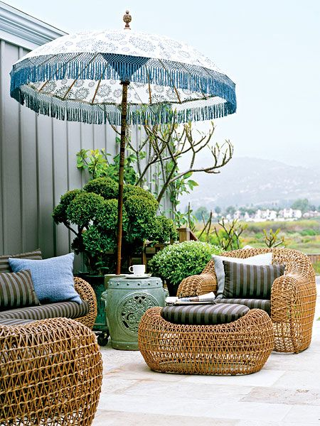 Outdoor Patio with Eclectic Umbrella
