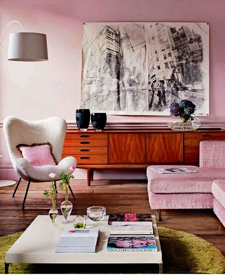 Pastel Pink Living Room and Couch