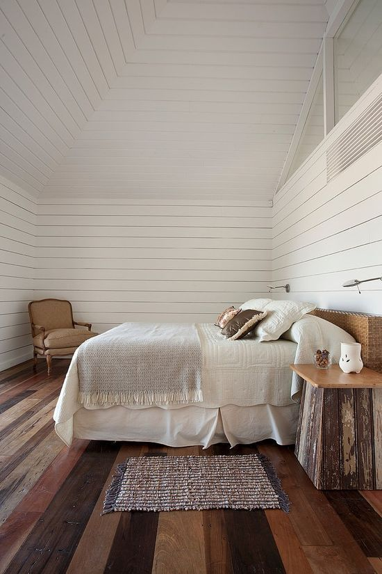 Rustic bedroom with white wood walls homedesignboard - Attic bedroom design ideas with wooden flooring ...