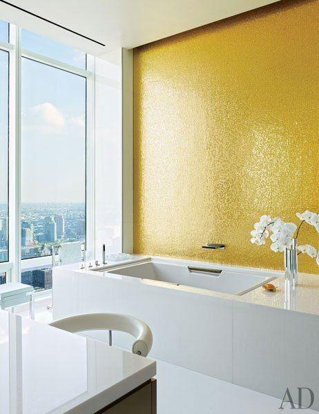 Shimmering Gold Mosaic Shower Tile