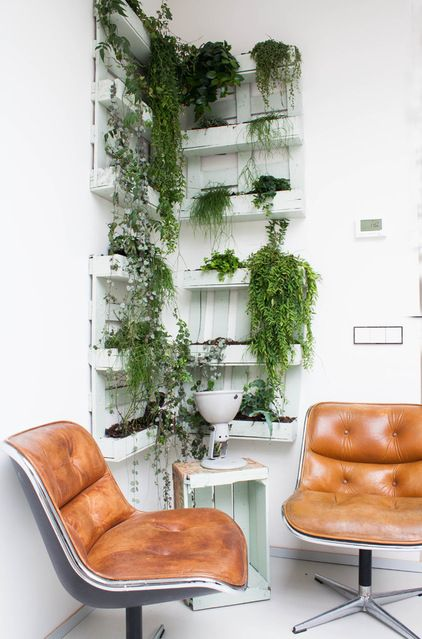 Sitting Area with DIY Pallet Green Wall