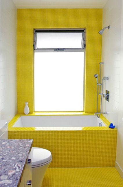 Sunny Yellow Tiled Bathroom