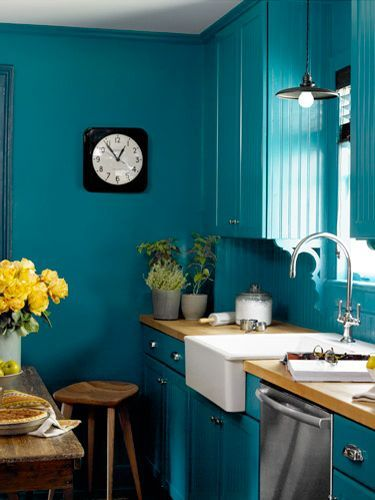 Turquoise Monochrome Kitchen
