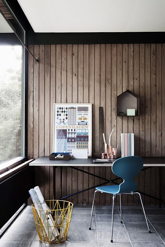 Warm Modern Workspace With Wood Walls and 'Concrete' Tile Floors