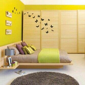 Neon Yellow Modern Bedroom With Butterfly Wall DecalYellow Bedroom 2