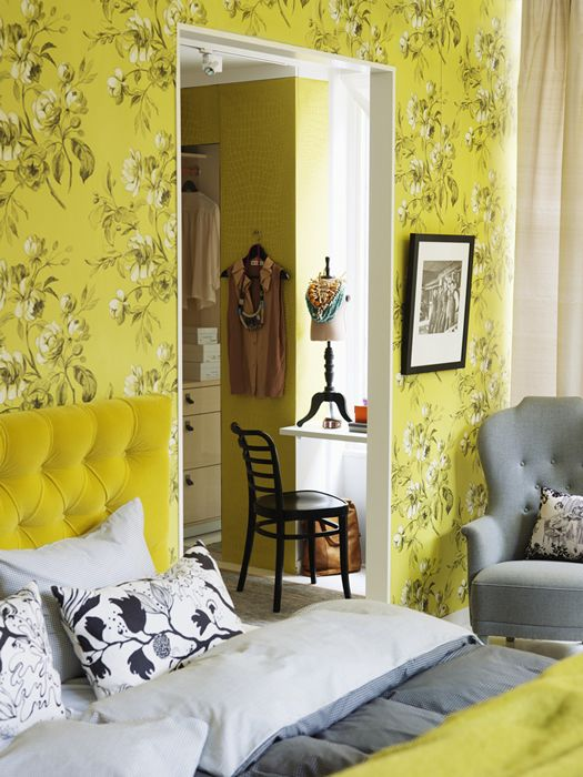 Floral Yellow Wallpapered Bedroom